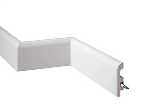 MARDOM DECOR Sockelleiste I MD355 I moderne Fußbodenleiste Bodenabschlussleiste I 200 cm x 9,7 cm x 2,0 cm