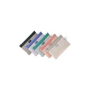 (業務用10セット) LIHITLAB メッシュケース/薄型ポーチ 【B6】 ジッパータイプ マチなし F-244 青紫 〈簡易梱包