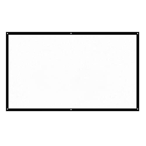 skrskr H70 70 '' Pantalla de proyector portátil HD 16: 9 Blanco Dacron 70 Pulgadas Pantalla de proyección Diagonal Cine en casa Plegable para proyección de Pared en el Interior al Aire Libre
