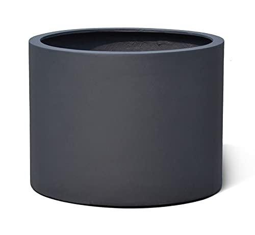VAPLANTO® Pflanzkübel Low Cylinder 60 Anthrazit Schwarz Rund * 60 x 60 x 41 cm * 10 Jahre Garantie