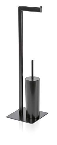 Möve Velvet Toilettenbürsten-/ Papierhalter, Metall, Black, 20x16x71 cm