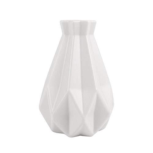 LLKK Blumentopf Origami Vasen Imitation Keramik Blumenvase Korb Tischpflanzen Pflanzen Heimtextilien Bonsai Dekor Blumenarrangement Behälter weiß-20x14,5cm