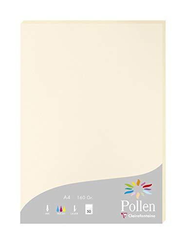 Clairefontaine 14204C Packung mit 50 Karten Pollen 160g, DIN A4, 21 x 29,7cm, Elfenbein