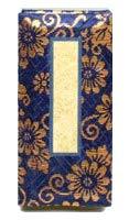 京仏壇はやし 仏具 過去帳 金襴 5寸 日付入り ( 紺 ) ◆縦 15cm 横 6.3cm 厚み 2.8cm
