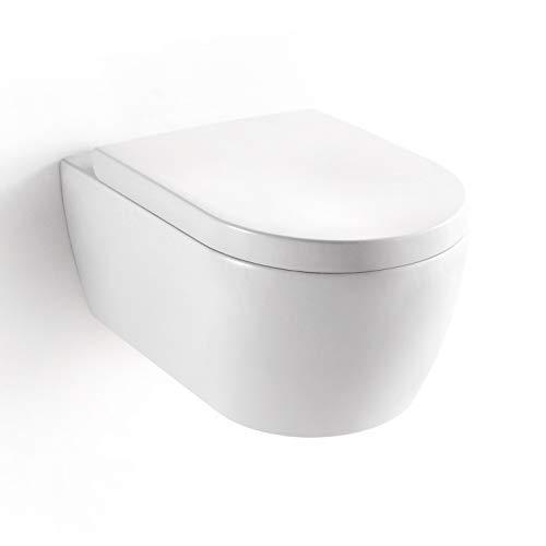Soho inodoro empotrado sin bordes, blanco brillante con plástico termoestable Soft Close–Asiento de inodoro con nanorrevestimiento, predeterminado