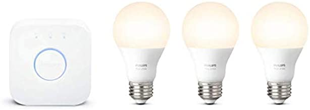 Philips Hue White LED Smart Light Bulb Starter Kit, 3 A19 Smart Bulbs & 1 Hue Hub, (Works with Alexa, Apple HomeKit, and G...