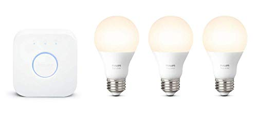 Philips Hue White LED Smart Light Bulb Starter Kit, 3 A19 Smart Bulbs & 1 Hue Hub, (Works with...