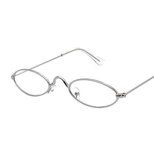 ZJSK Occhiali da sole unisex in metallo di moda con montatura piccola occhiali da sole con montatura ellittica Occhiali da sole trasparenti per uomo donna-2