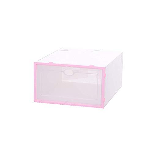 YIJIAHUI Caja de zapatos transparente para zapatos, caja organizadora de zapatos gruesa, a prueba de polvo, para armario de zapatos superpuesto (tamaño: 31 x 21 x 1,5 cm), color: rosa