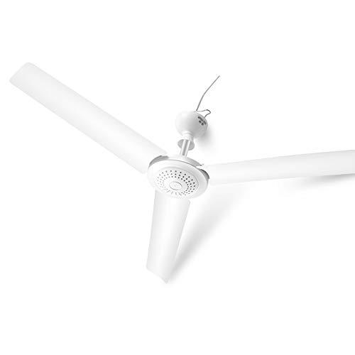 Ventilador de techo silencioso, ventilador de techo blanco controlado por pared, aspa de ventilador de 3 aspas, con línea de sincronización remota, temporización inteligente de 12 horas/Blanco