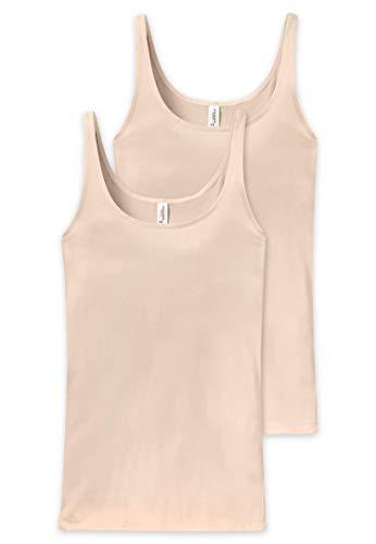 Schiesser Damen Essentials 2PACK Trägertop Unterhemd, Beige (Nude 410), 44