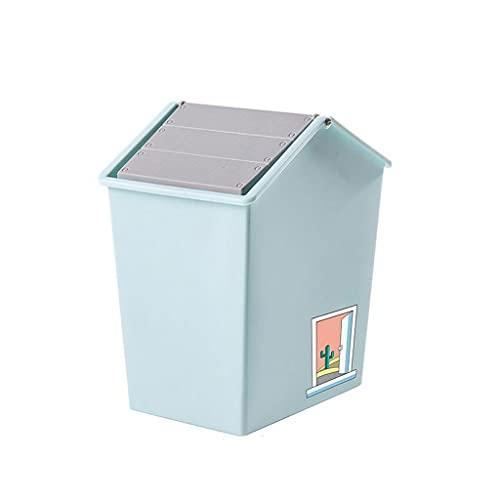 liangzishop Cubos de Basura Basura nórdica Caja de Almacenamiento Caja de Basura Flip Basket Pequeño 4L Basura Can Dormitorio para el hogar Mini Basura de Basura Papeleras (Color : Blue)