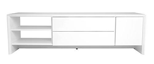 TENZO 5944-001 Profil Designer Banc-TV L 150, Blanc, Structure et façade en Panneaux MDF laqués, 44 x 150 x 47 cm (HxLxP)