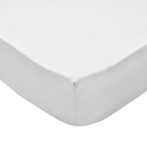 Festnight Spannbettlaken | Spannbetttuch 2 STK. | Spannbetttücher | Baumwolle Bettlaken | für Wasserbett/Boxspringmatraze | Weiß Baumwolljersey 180x200 cm
