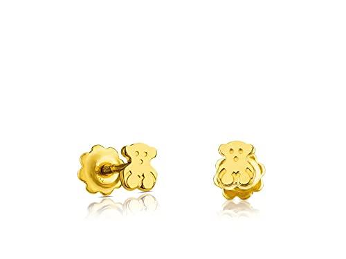 TOUS Pendientes de botón Niña y Baby de oro amarillo 18 kt, Cierre rosca, motifo: 0,4 cm