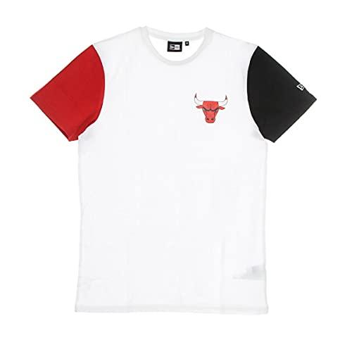 New Era - Maglietta NBA Chicago Bulls Color Block, da uomo, colore: Bianco, Nero , XS