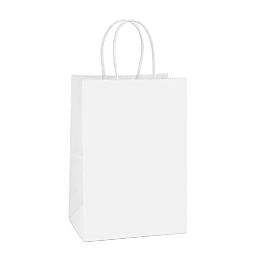 BagDream Kraft Paper Bags 100Pcs 5.25x3.75x8 Inches Small Paper Gift Bags with Handles Party Bags Shopping Bags Kraft Bags White Paper Bags Bulk 100% Recyclable Paper