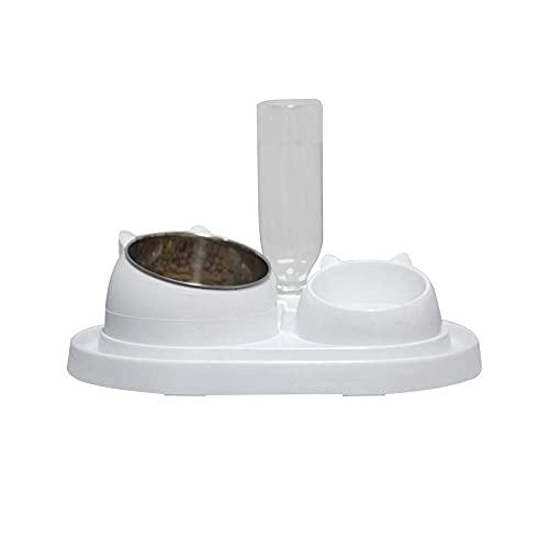 Queta Ciotola per cibo per gatti, 400 ml, in acciaio inox, antiscivolo, con due strati, ciotola per gatti e gatti, set di ciotole inclinate con motivo a forma di talpa (combinazione bianca)