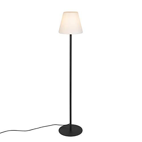 QAZQA Modern Moderne AußenStehleuchte/Stehlampe/Standleuchte/Lampe/Leuchte schwarz - Virginia/Außenbeleuchtung Edelstahl/Kunststoff Länglich/Oval LED geeignet E27 Max. 1 x 23 Watt