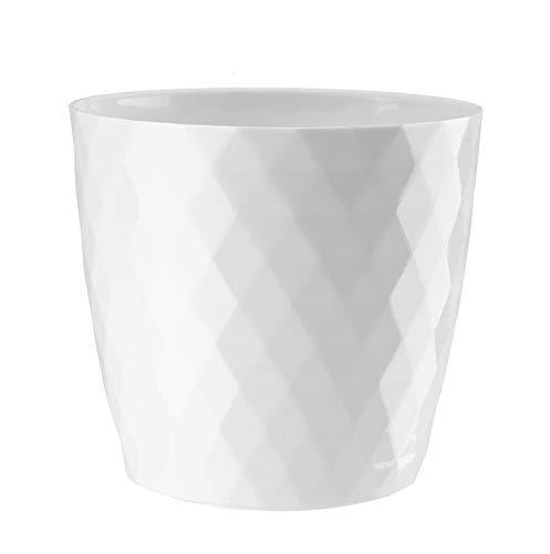 korad Cristal Plant pot cover indoor plastic flower cover round modern decor planter (Ø 12 cm (4,7 inch), White)