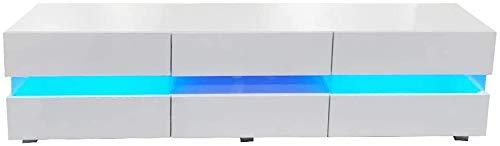 Bakaji Mobile TV in Legno Laccato Lucido con Cassetto Ripaino Aperto + 3 Ante a Ribalta Mobiletto Televisore con Luce a LED Cambio Colore e Telecomando Design Moderno 177 x 45 x 39 cm (Bianco)