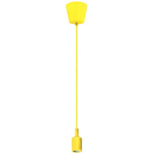 Porta Lampara E27 de Colgar Techo Lampara Colgante Moderno Coloreado Amarillo para Comedor Cocina Infantiles Salon Oficina Longitud Máxima 155CM Ajustable de Enuotek