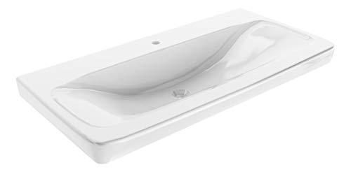 FACKELMANN Keramik Waschtisch Milano/Maße (B x H x T): ca. 88,5 x 17 x 54,5 cm/Keramikbecken/hochwertiges Waschbecken für Bad und WC/integrierter Überlauf/gesoftete Kanten/Farbe: Weiß