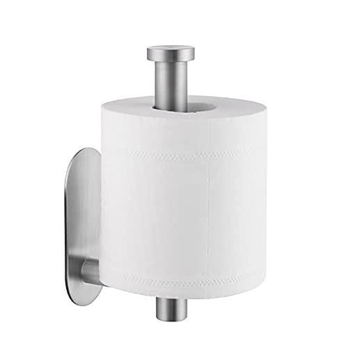 KES Porta Carta Igienica Adesivo da Parete Portarotolo Carta Igienica per Bagno o Cucina in Acciaio Inox SUS 304 Spazzolata, A7070-2