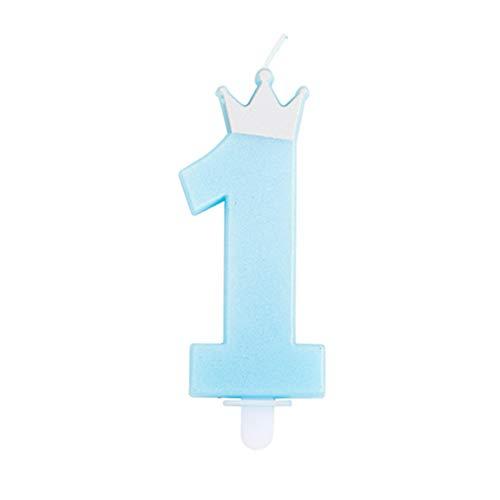 Candela numero 1 CELESTE/AZZURRO con coroncina ARGENTO - numerale h 9cm - Candelina per Torta e dolci - candela di primo compleanno in cera a forma di numero (Celeste)