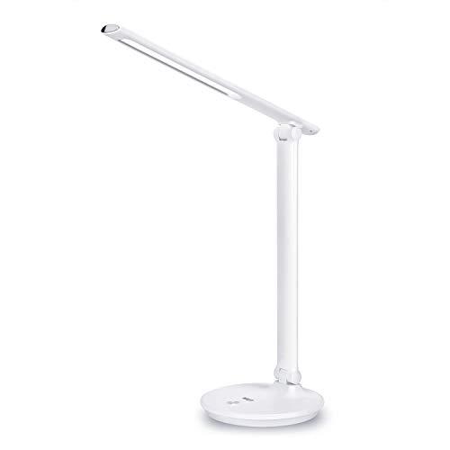 WILIT H6 12W Schreibtischlampe LED USB-Anschluss für Smartphones Dimmbare Tischleuchte 3 Farb- und 3 Helligkeitsstufen Bürolampe Augenschutz Touchfeldbedienung Weiß