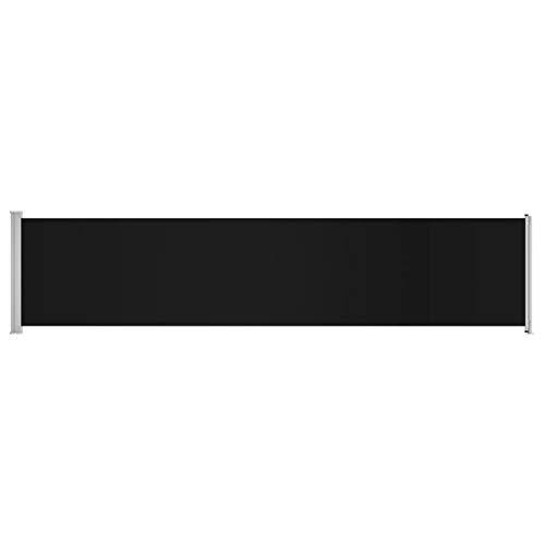 Festnight Ausziehbare Seitenmarkise Seitenwandmarkise Seitenrollo für Balkon Sichtschutz Ausziehbar 140x600 cm Schwarz/Blau/Grau
