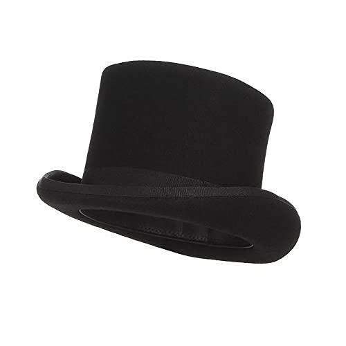 maozuzyy Fedora Trilby Sombrero Hombre Mujer Sombrero De Fieltro Gorra De Sombrerero Loco Sombrero De Mago-Negro_L (59Cm)