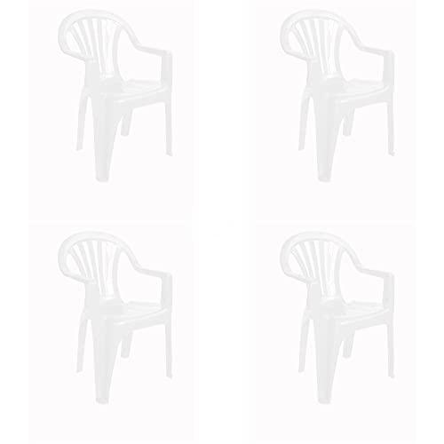 RESOL Nuevo Pals Set 4 Sillas de Plástico con Reposabrazos Ligera y Apilable para Eventos y Reuniones en Exterior o Interior | Jardín, Terraza, Patio | Fácil Mantenimiento y Filtro UV - Color Blanco