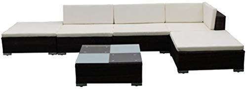 Möbel-Set für Garten und Terrasse, 2 x Ecksofas, 1 x Couchtisch + 1 x Einzelsofa + 1 x Ottomane + 1 x Couchtisch + 5 x Sitzkissen + 6 x Rückenkissen.