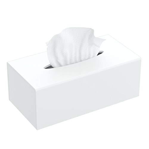 FEMELI Acrylic Tissue Box Cover,Rectangular Facial Tissue Holder Case Dispenser for Bathroom Kitchen Bedroom Office with Magnet Locking Bottom,White