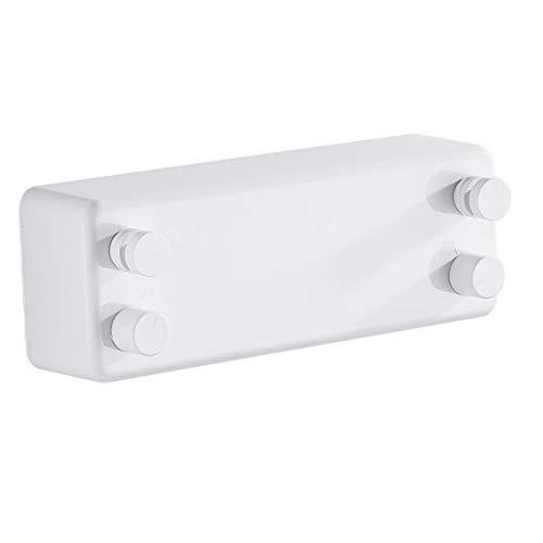 Yagosodee Tendedero retráctil de acero inoxidable ajustable de doble cuerda Montado en la pared Tendedero para el hogar Dormitorio Hotel (blanco)