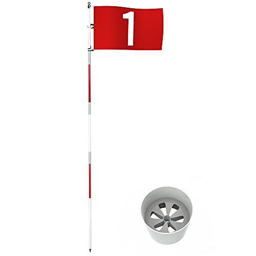 THIODOON Golf Flagstick 6ft Golf Flag and Cup for Yard Pro Detachable Golf Hole Cup and Flag for Driving Range Backyard Upgrade Anti-Rust Glass Fiber 5-Section Design with Connectors
