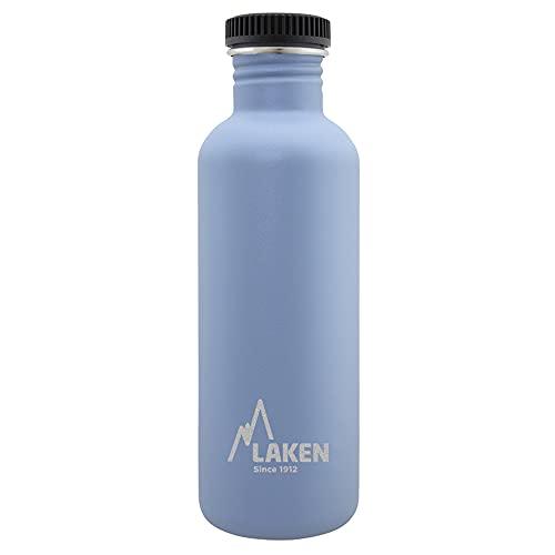 Laken Botella de Acero Inoxidable con Tapón de Rosca Negro y Boca Ancha 1L, Azul