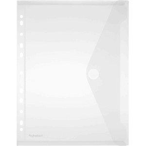 FolderSys 10 carpetas para documentos A4 PP con borde perforado, cierre de velcro, transparente mate