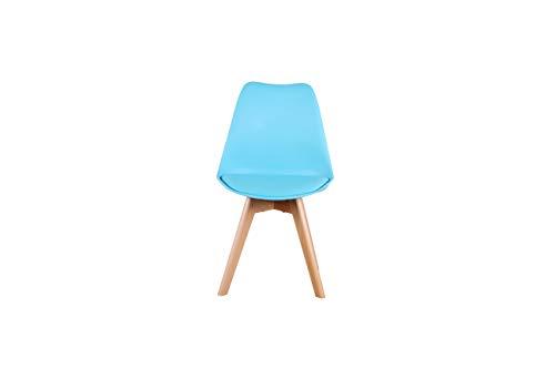 Silla de comedor de 4 piezas con patas de madera de haya, estilo nórdico, asiento con cojín tapizado de piel sintética suave, adecuado para salón, cocina, oficina y otros lugares. (azul)