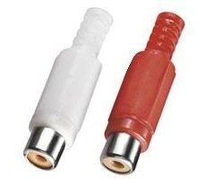 BestPlug 2 Stück Audio Cinch Kupplung Buchse weiblich Lötversion, 1 Rot und 1 Weiss (verbesserte Ausführung v1.12)