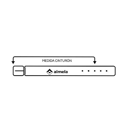 almela - Cinturón de hombre - Piel legitima - 3 cm de ancho - Cuero - Económico - 30mm - Hebilla níquel brillo (Negro, 100)