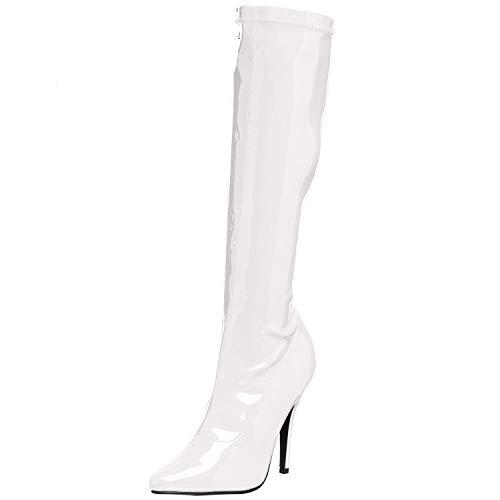 Pleaser SEDUCE-2000 Damen Stiefel, Lack Weiß, EU 37 (US 7)