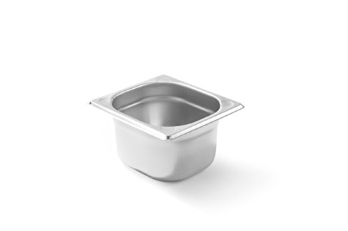 HENDI Gastronormbehälter, Temperaturbeständig von -40° bis 300°C, Heissluftöfen-Kühl- und Tiefkühlschränken-Chafing Dishes-Bain Marie, Stapelbar, 1,6L, GN 1/6, 176x162x(H)100mm, Edelstahl