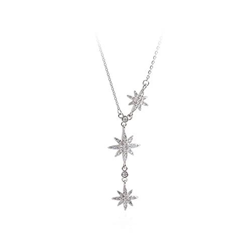 Collar elegante de plata de ley 925 con borla de cristal y cuentas con forma de estrella, collar con colgante, joyería para mujer, gargantilla de boda