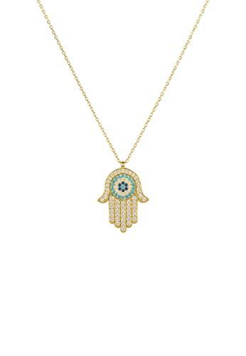 LATELITA Hamsa Hand with Evil Eye Pendant Necklace Gold