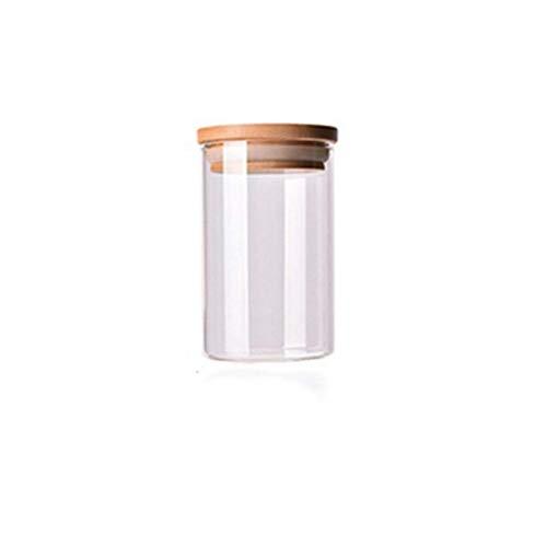 Tarro de Vidrio para Alimentos con Tapa Tarro de Galletas Tarros de Cocina Tarro de Dulces para Especias Recipiente de Vidrio Organizador Caja de Almacenamiento (Color: B Tamaño: Labio de Madera)