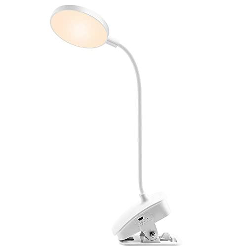 Lámpara con clip – Lámpara LED USB de escritorio con 3 modos de color, luz con clip para protección ocular, 360 ° flexible, se puede llevar, 1000 mAh
