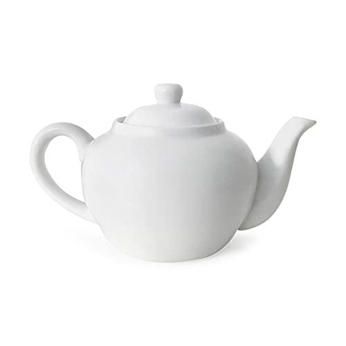 TEEKANNE PORZELLAN - PREMIUM Teekanne 1100ml Weiß - Hochwertige Porzellan Teekanne mit Deckel aus Porzellan - Klassische Teekanne in cremigem Weiß - Zeitlose, elegante und robuste Porzellan Teekanne