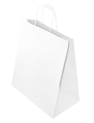25 STK Öko - Papiertasche mit gedrehten Papiergriffen 305x170x340mm Griff Papiertaschen weiss Tüten Geschenktüten gross Einkaufen 25 x papiertueten mit henkel